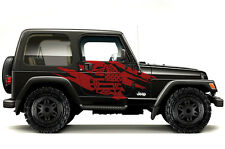 Custom Vinyl Graphics Decal Wrap Kit fits 99-06 Jeep Wrangler Torn Army Star RED
