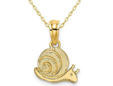 14K Yellow Gold Polished Mini Snail Charm Pendant Necklace with Chain