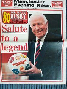 Manchester Evening News May 1989 Sir Matt Busby 80th Birthday Souvenir