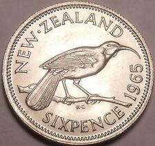 Gem Unc New Zealand 1965 6 Pence~Last Year Ever Minted~Hula Bird~Free Shipping
