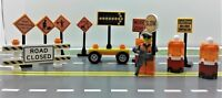 Lego City Town Village CUSTOM construction site. Traffic signs. Minifigure.