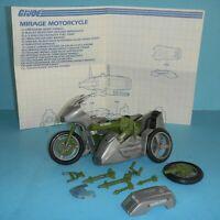 1985 GI Joe Silver Mirage Motorcycle & Sidecar w/ Blueprints *Complete *BROKEN*