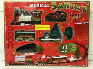 SANTA CHRISTMAS TREE TRAIN TRACK SET DECORATION LIGHTS AND SOUND KIDS TOY GIFT