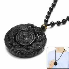 Round Lucky Pendant Necklace Natural Obsidian Carved Dragon Phoenix BaGua Black