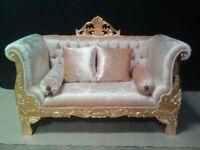 PROMO: spacieux fauteuil canapé style baroque bois massif doré à la feuille d'or
