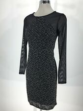 Laundry by Shelli Segal NWT Awesome Black Lace silver trim Dress size 2,6 L@@K