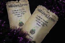 Handmade 'Witches Brew' Halloween Bottle Stickers x 6