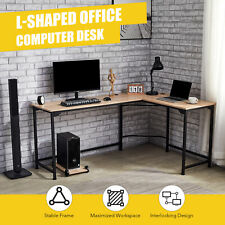 L Shaped Office Desk with Tower Shelf Cable Management 72x19 53x19 Sides Oak
