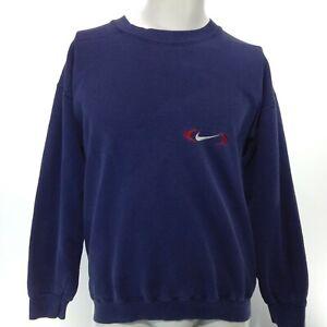 Vintage NIKE Blue Long Sleeve Crew Neck Pullover Sweatshirt Size Medium USA