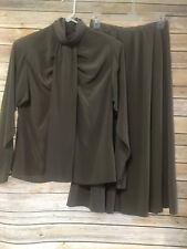 Regina Porter Vintage Solid Brown 2 Piece Skirt Suit Set Long Sleeve Womens sz 8