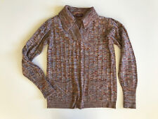 Vintage 1970s Brown & Blue Space Dyed Knit Sweater Medium Classic Large Collar
