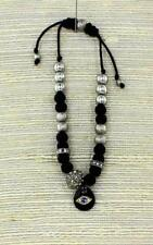 Silver & Black Wood & Crystal Bead Hamsa Evil Eye Adjustable Shamballa Bracelet
