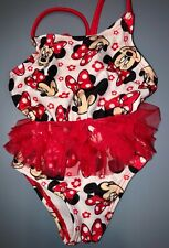Disney Baby Minnie Mouse Red White Tutu Bathing Swim Suit Size 0-3 Months
