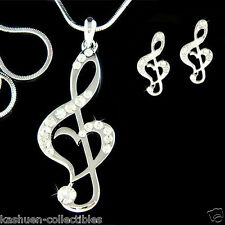 w Swarovski Crystal TREBLE G CLEF MUSIC MUSICAL NOTE Heart Necklace Earrings Set