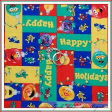 BonEful Fabric FQ Cotton VTG Sesame Street Red Elmo Big Bird Cookie Monster Xmas