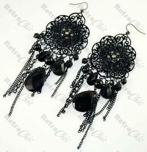 BIG BLACK lace LONG gothic CHANDELIER EARRINGS victorian GOTH vintage style DP
