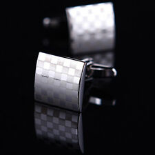 Pair Men's Silver Square Checkerboard Pattern Cufflinks Wedding Party Cuff Link