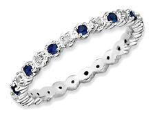 Laboratorio creado anillo azul zafiro de 1/4 quilates (quilates) en plata esterlina