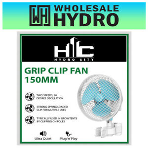 "Hydro City Grow Tent Pole Grip Clip 150mm (6"") Oscillating Fan 2 Speed"