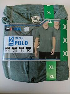 Men's 32 Degrees Cool 2 Pack Polo Shirt Green Extra Large XL Soft, New with tags