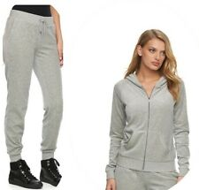 New Women's Juicy Couture Tracksuit gray Velour Hoodie Jogger Pants XS 2pc Gym