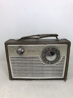 FOR PARTS OR REPAIR VTG General Electric Transistor Radio Brown P-777A READ