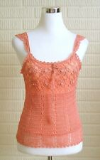 Juniors Peach Tank Top Crochet Overlay Sz Medium Dressy Pearl Accents Lined