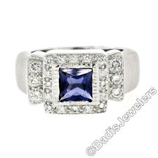 14K White Gold 1.65ctw Princess Iolite Bezel Solitaire Diamond Halo Brushed Ring