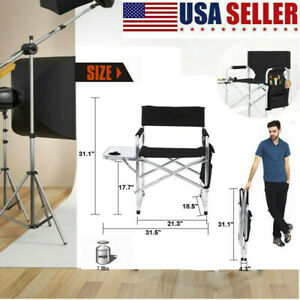 Portable Director Chair Makeup Folding Artist Chair w/ Side Table & Storage Bag