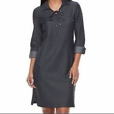 NWT $89 Sharagano Women's Sz 12 Navy Blue Collar Pullover Long Sleeve Dress