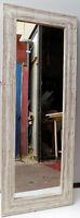Specchio in legno intarsiato stagionato cm 140x53 bianco decapato da parete