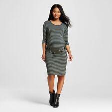 Liz Lange Maternity XS 3/4 Sleeve T-Shirt Dress Striped Green & Blue NEW
