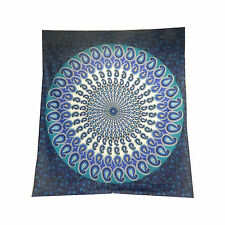 Couverture indienne Tenture Paisley Mandala bleu turquoise 230x210cm
