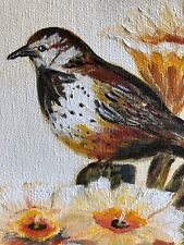 Vintage Original Acyrlic Art Bird Flowers On Canvas Framed Sweet