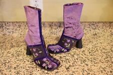 IXOS 70s Mod Velvet Satin Wool Purple Paisley Embroidered Boots Size 35/5 (BO300