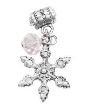 Holiday Snowflake Clear Crystal Christmas Dangle Charm for European Bracelets