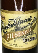 Vintage Pre-Pro Blob Top Beer Bottle With Paper Label Rock Island Brewing Co's