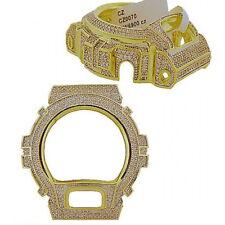 Men's Casio G Shock 6900 Series Yellow Gold Finish Simulated Diamond Case Bezel