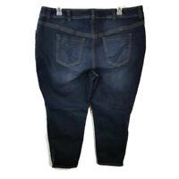 Lane Bryant 24 Jeans Womens Plus Size Genius Fit Ankle Zip Stretch Dark Wash
