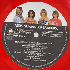 "ABBA ""Gracias Por La Musica"" Japan ONLY PROMO RED VINYL Lp w/Obi IN SPANISH"