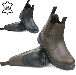 Mens Leather Chelsea Dealer Ankle Boots Steel Toe Cap Safety Work PPE Shoes Size