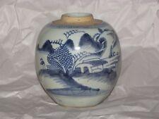 Qing Ming Unusual Shape Antique Chinese Blue White Stoneware Ginger Jar