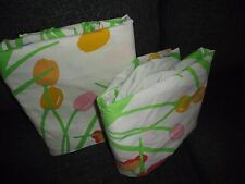 SPRINGMAID SUMMER GARDEN TULIPS GREEN RED FLORAL 2PC FULL FLAT FITTED SHEET SET