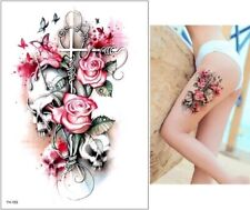 Pink Skulls & Roses Temporary Tattoo A5 Large Adult Unisex Body Art Cross 💞 🌹
