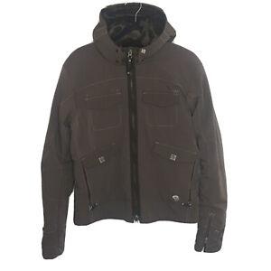 Mountain Hardware Full Zip Jacket Size L Brown Shearling Hood Hiking Camping