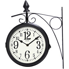 """Outdoor Clock Thermometer Station Clocks Dual-Faced Rotary Analog Metal Case 8"""""""