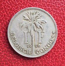 Congo Belge  - Albert Ier - Belgique - Très Jolie monnaie de 1 Franc 1926  VL