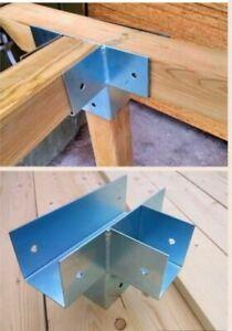 Soporte para uniones de 4 postes de madera 12x12 cm conector galvanizado viga