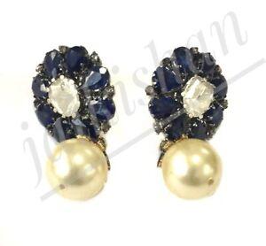 Polki Diamond Dangle Earring 925 Silver Sapphire Pearl Gemstone Handmade Jewelry