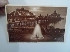 Vintage Postcard Illuminated Fountain+Pier By Moonlight, Eastbourne     §A1721